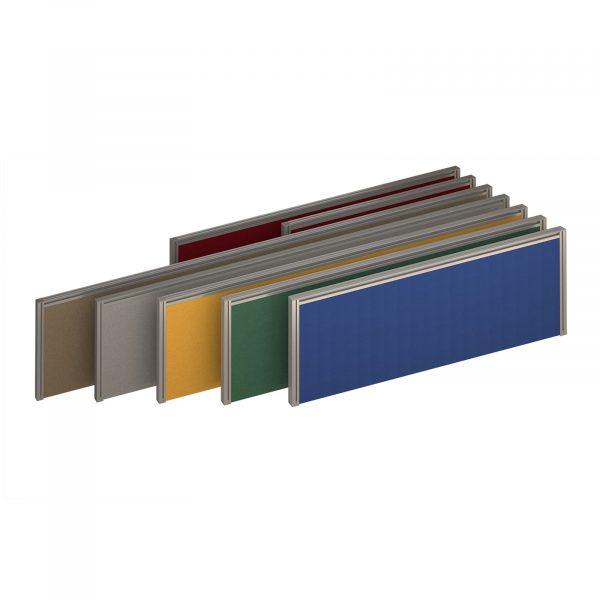 Straight fabric desktop screen with aluminium frame