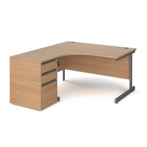 Contract 25 ergonomic cantilever desk with desk high pedestal