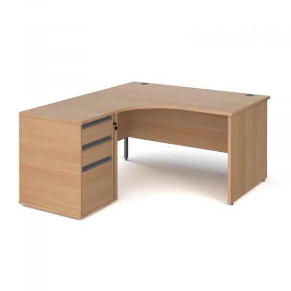 Contract 25 ergonomic panel end desk with desk high pedestal