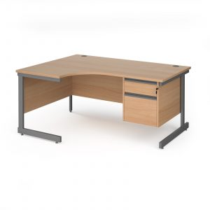 Contract 25 cantilever leg LH ergonomic desk with 2 drawer ped