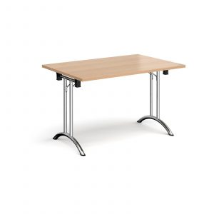 Rectangular folding leg table with curved feet