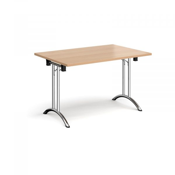 Rectangular folding leg table with curved feet