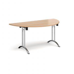 Semi circular folding leg table with curved feet