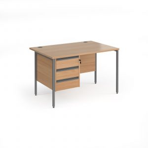 Contract 25 H-Frame straight desk with 3 drawer pedestal