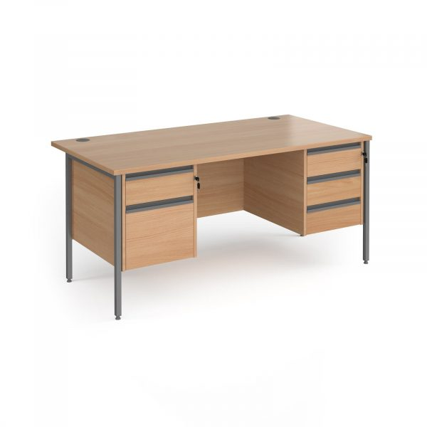 Contract 25 H-Frame straight desk with 2 and 3 drawer peds