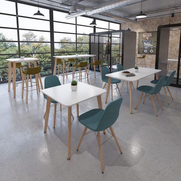 Como rectangular poseur table with oak legs