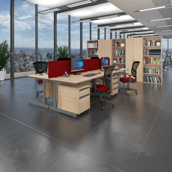 Contract 25 cantilever leg straight desk with 3 and 3 drawer peds