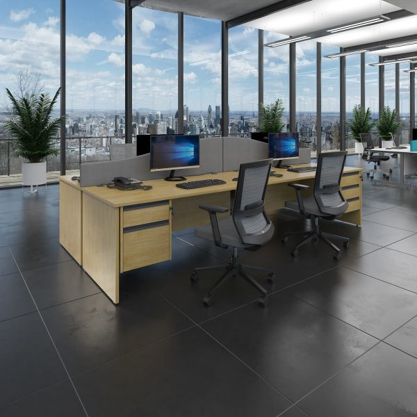 Contract 25 panel leg straight desk with 2 drawer pedestal