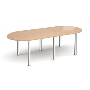 Radial end meeting table with 6 radial legs