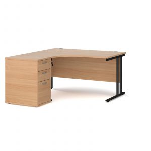Maestro 25 left hand ergo desk with pedestal