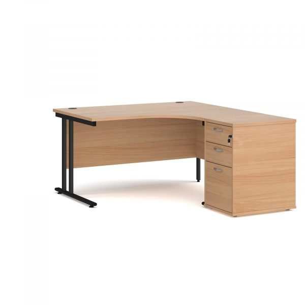 Maestro 25 right hand ergo desk with pedestal