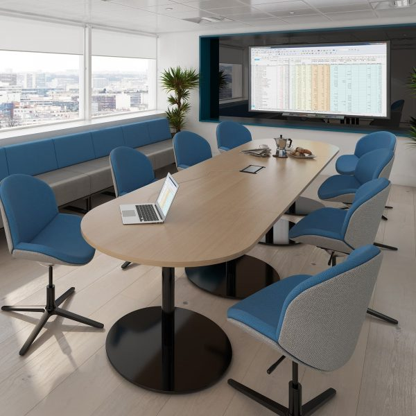 Eternal radial end power ready boardroom table