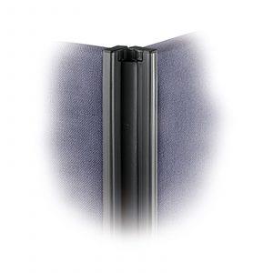 Floor standing fabric screen 2 way linking strip