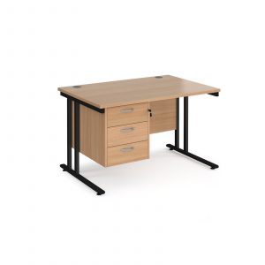 Maestro 25 cantilever 800mm deep desk with 3 drawer ped