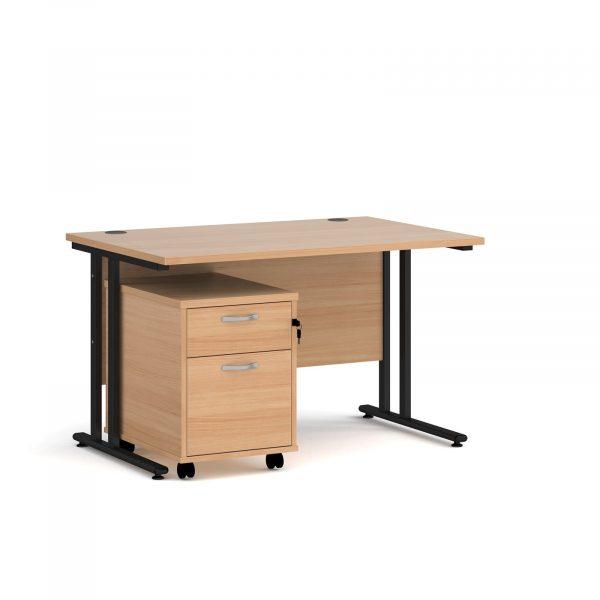 Maestro 25 desk 800mm with 2 drawer pedestal