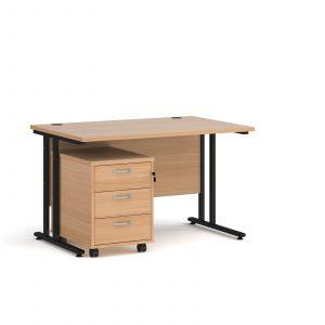 Maestro 25 desk 800mm with 3 drawer pedestal