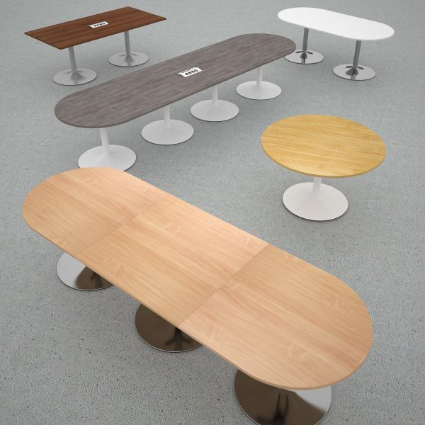 Trumpet base radial end power ready boardroom table