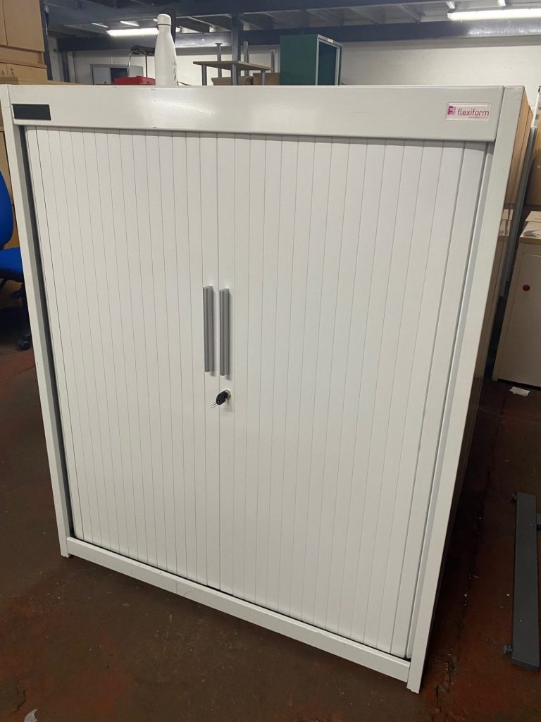 Flexiform white 1200mm high white tambour cupboards - Used Office Furniture Birmingham Office Furniture 2 Go 1
