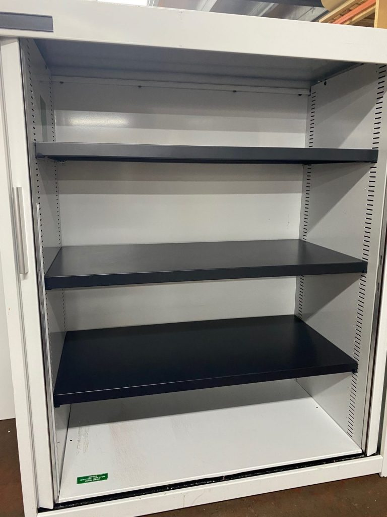 Flexiform white 1200mm high white tambour cupboards - Used Office Furniture Birmingham Office Furniture 2 Go 2